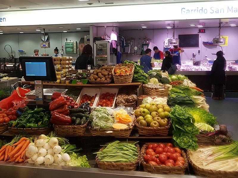 Farmer stall in the San Sebastian Market